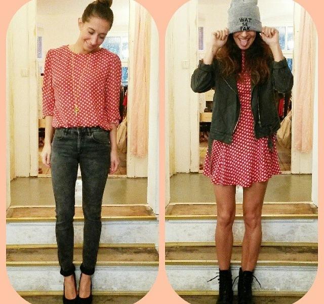 Unsere Lieblingskombi für heute: rot und grau! Pünktchen und Jeans! Bluse und Kleid: @_poppy_lux Jeans: @2ndone_official  Mütze: @jute_beutel  Jeansjacke: @monki #halloherz #berlin #kastanienallee #poppylux #2ndOne #jutebeutel #tomshot #jutebeutel #dots #love #omg