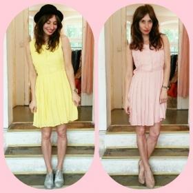 Gelb oder rosa? Rosa oder gelb! Soooo verliebt in das Sommerkleidchen von @wearekling und die Schuhe von @vagabondshoes  #halloherz #berlin #kastanienallee #kling #summer #dress #holographic #vagabondshoes #pumps #nude #huttutgut #yellow #sun #love #herzchenindenaugen #liebe #omg