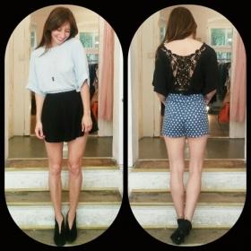 Ob hell oder dunkel – wir lieben die neue Bluse von @numph_dk  Shorts von @thefifthlabel und @wearekling  Kette von @klimbimbarcelona  Schuhe #vintage #halloherz #berlin #kastanienallee #nümph #lace #thefifthlabel #kling #dots #klimbimbarcelona #ootd #love  #herzchenindenaugen #liebe #omg