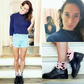 …von hinten wie von vorne… I LOVE MY @wearembym JUMPER! #sexyback  Shorts von @americanapparelde Socken von @numph_dk Schuhe von @vagabondshoes Kette von @klimbimbarcelona Brille von @super_sunglasses @specsberlin #halloherz #berlin #kastanienallee #ootd #mbym #jumper #knit #jeans #shorts #americanapparel #socks #nümph #shoes #vagabond #leather #glasses #super #retrosuperfuture #love #summer #liebe #happymonday