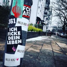 Voll am drinne sein im Sticker Game #halloherz #berlin #kastanienallee #berlinstagram #kreuzberg #361 #darum36 #middlefinger #ichfickedeinleben #ichliebemeinleben #fckafd #fcknzs #word #shoutoutloud #qotd #picoftheday #sticker #stickerlove #stickerbomb #streetart #urbanart #love