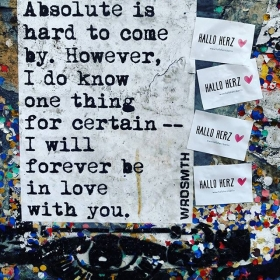 """""""…feel like this forever! Forever, forever-ever, forever-ever…""""  #halloherz #berlin #kastanienallee #wrdsmth #freedrinkshain #fhain #friedrichshain #writingsonthewall #quotesoftheday #quotes #streetart #urban #urbanart #sticker #stickerbomb #stickerline #stickerlove #poetry #streetpoetry #picoftheday #love #forever #foreverlove #liebe"""