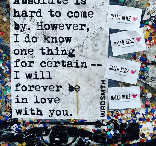 """…feel like this forever! Forever, forever-ever, forever-ever…""  #halloherz #berlin #kastanienallee #wrdsmth #freedrinkshain #fhain #friedrichshain #writingsonthewall #quotesoftheday #quotes #streetart #urban #urbanart #sticker #stickerbomb #stickerline #stickerlove #poetry #streetpoetry #picoftheday #love #forever #foreverlove #liebe"
