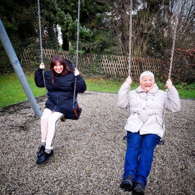 Don't grow up, it's a trap! ‍♀️‍♀️‍♀️ #ootd @numph_dk @adidasoriginals @drmartensofficial #halloherz #berlin #kastanienallee #nümph #wintercoat #adidas #adidasoriginals #joggingpants #drmartens #grandmother #grandma #granny #family #familyfirst #playground #girlpower #girlboss #style #fashion #shopping #girls #fashiongoals #love #liebe #dontgrowupitsatrap